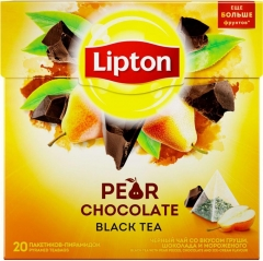 Липтон Чёрн. АРОМАТ PEAR CHOCOLATE C КУСОЧКАМИ ГРУШИ (20ПИРX1.6Г)  Lipton