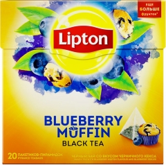 Липтон Blueberry Muffin пак.-пирам с аром Чёрн.ичного кекса и кус Чёрн.ик 20х1,8 г Lipton